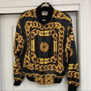Authentic Chanel runway silk logo bomber jacket